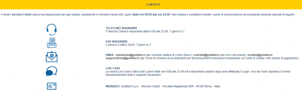 goldbet assistenza clienti