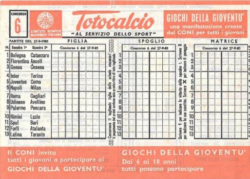 Schedina Totocalcio: partite, bonus e pronostici